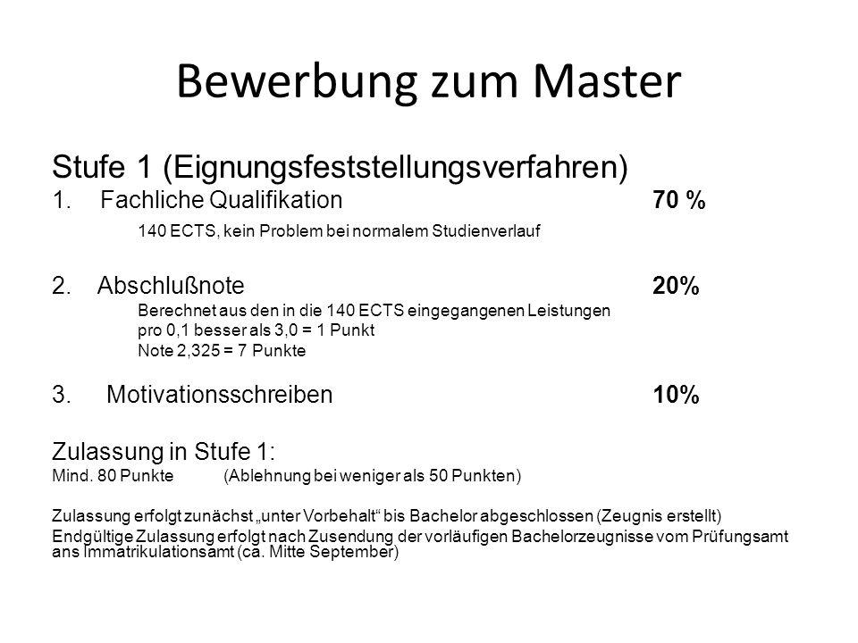 Bewerbung zum Master Stufe 1 (Eignungsfeststellungsverfahren)