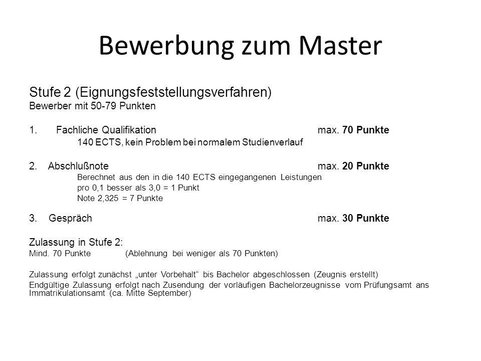 Bewerbung zum Master Stufe 2 (Eignungsfeststellungsverfahren)
