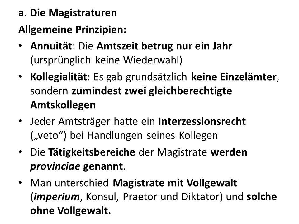 a. Die Magistraturen Allgemeine Prinzipien: Annuität: Die Amtszeit betrug nur ein Jahr (ursprünglich keine Wiederwahl)