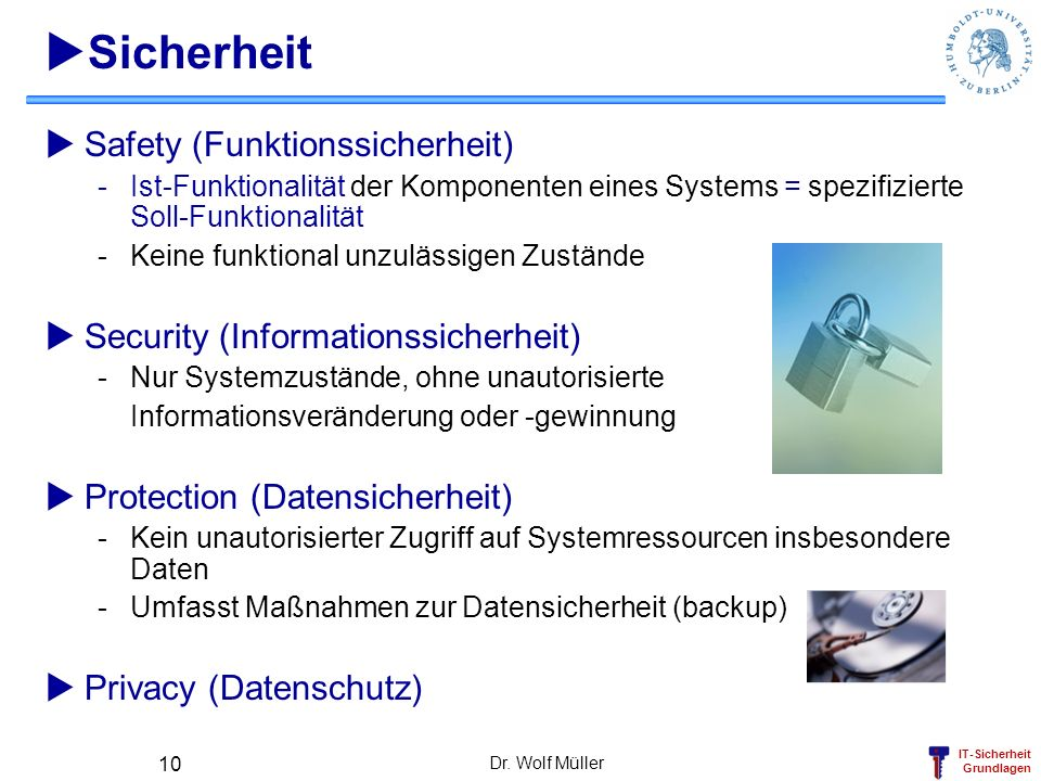Sicherheit Safety (Funktionssicherheit)