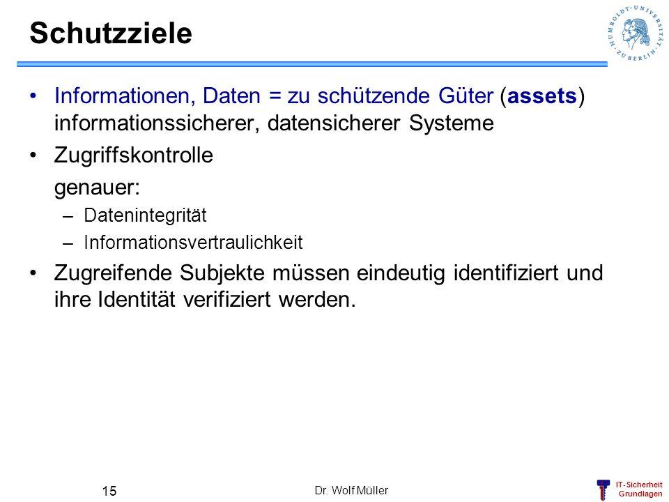 Schutzziele Informationen, Daten = zu schützende Güter (assets) informationssicherer, datensicherer Systeme.