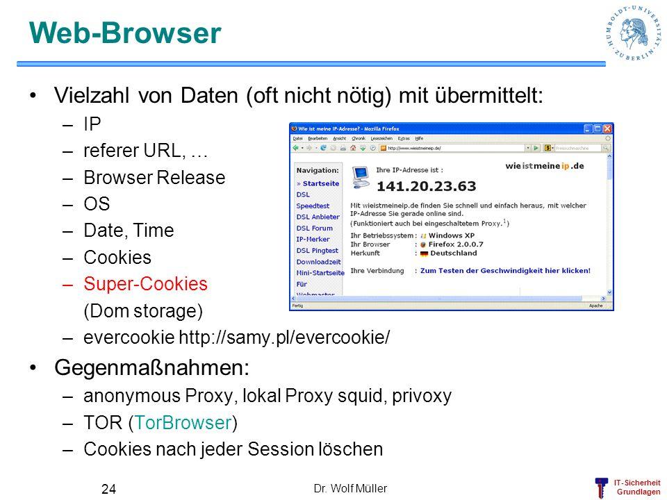 Web-Browser Vielzahl von Daten (oft nicht nötig) mit übermittelt: