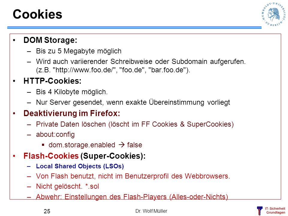 Cookies DOM Storage: HTTP-Cookies: Deaktivierung im Firefox: