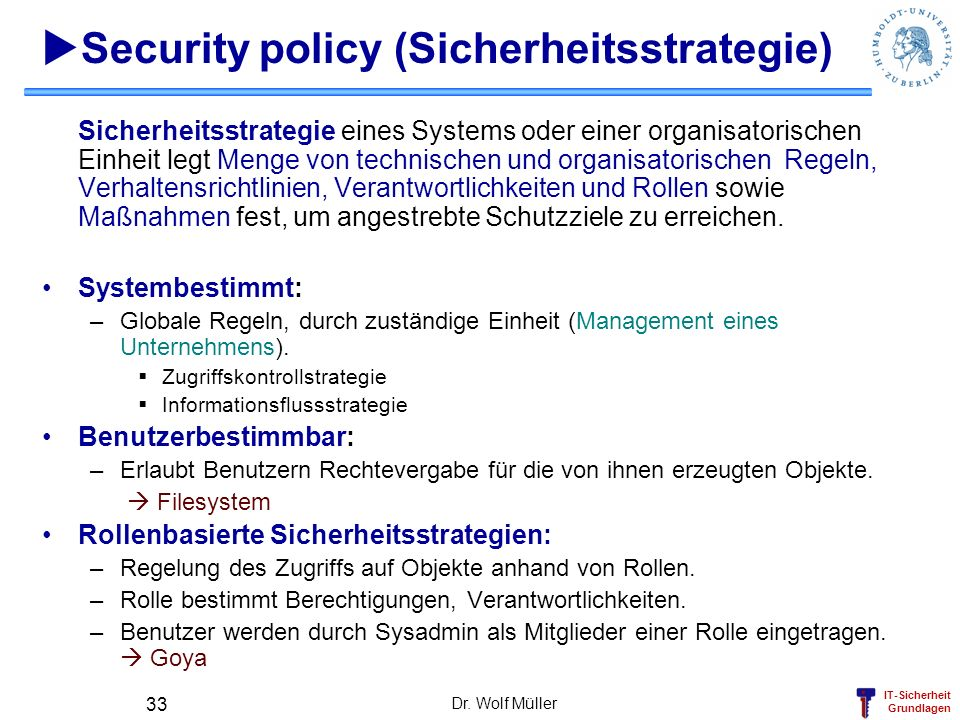 Security policy (Sicherheitsstrategie)
