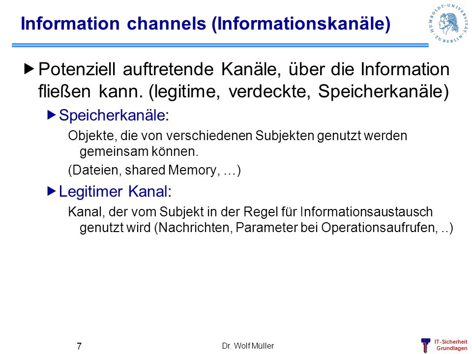 Information channels (Informationskanäle)