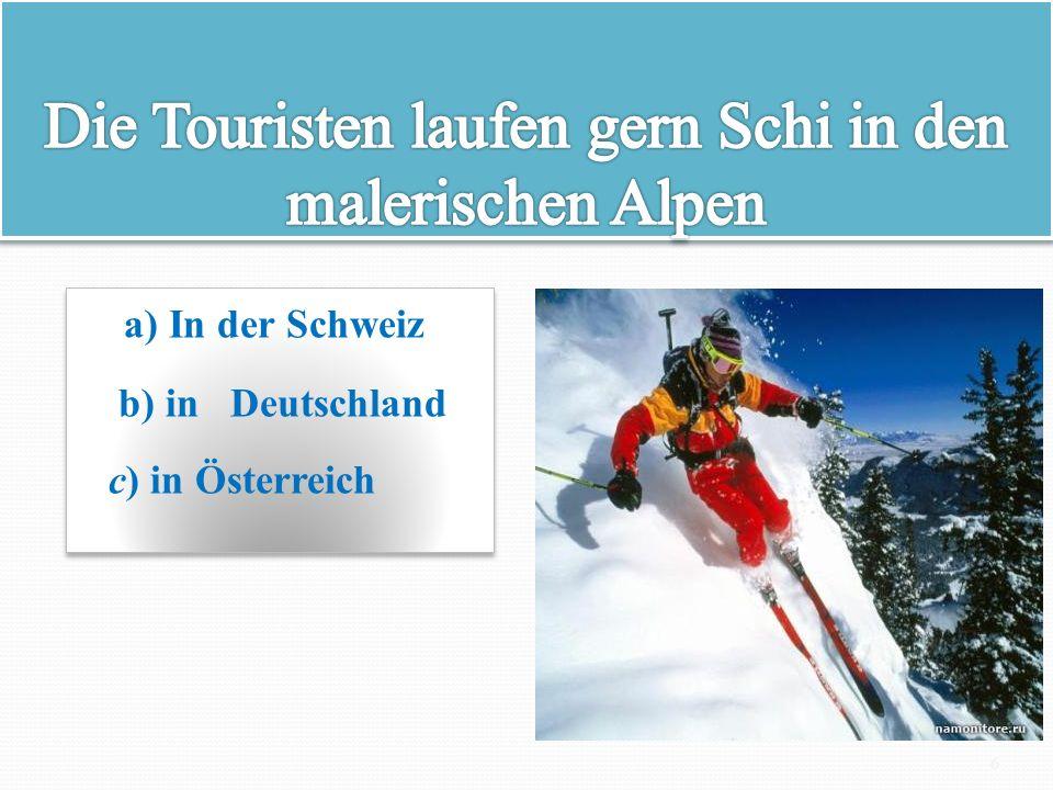 Die Touristen laufen gern Schi in den malerischen Alpen