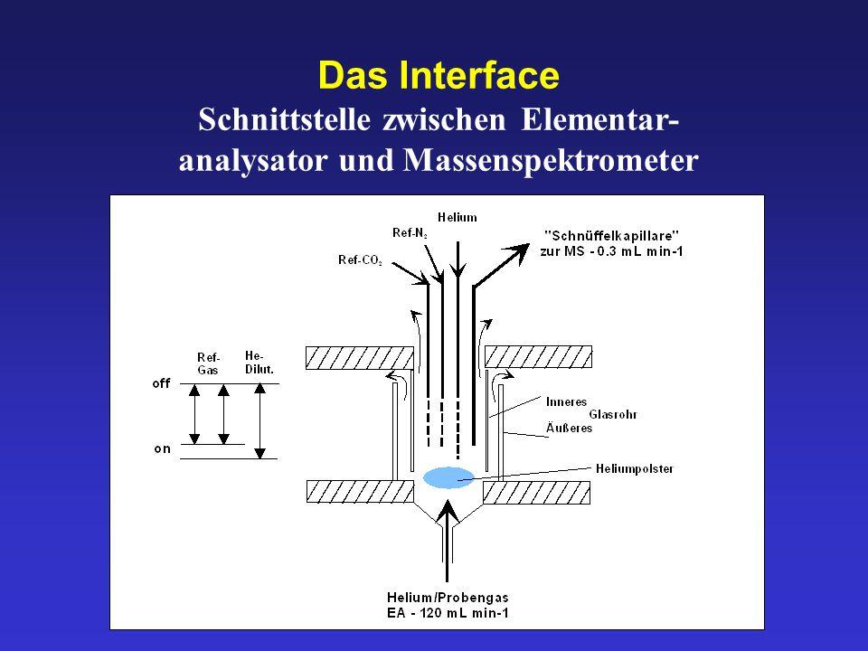 Schnittstelle zwischen Elementar- analysator und Massenspektrometer