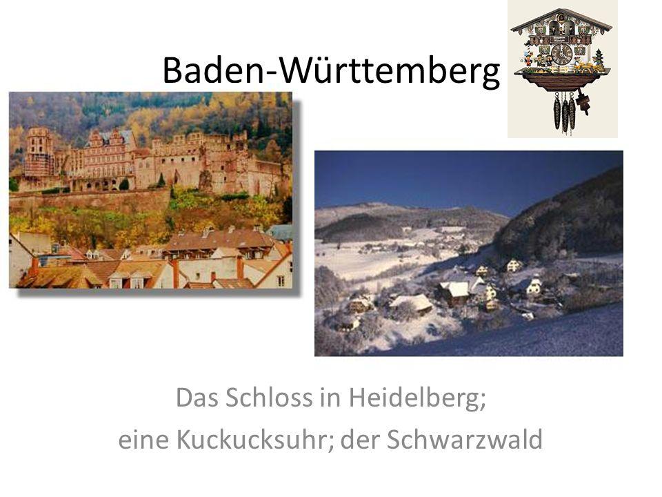 Das Schloss in Heidelberg; eine Kuckucksuhr; der Schwarzwald
