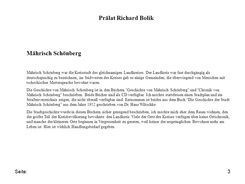 Prälat Richard Bolik Mährisch Schönberg Seite: