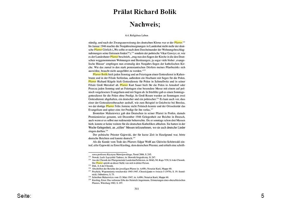 Prälat Richard Bolik Nachweis;