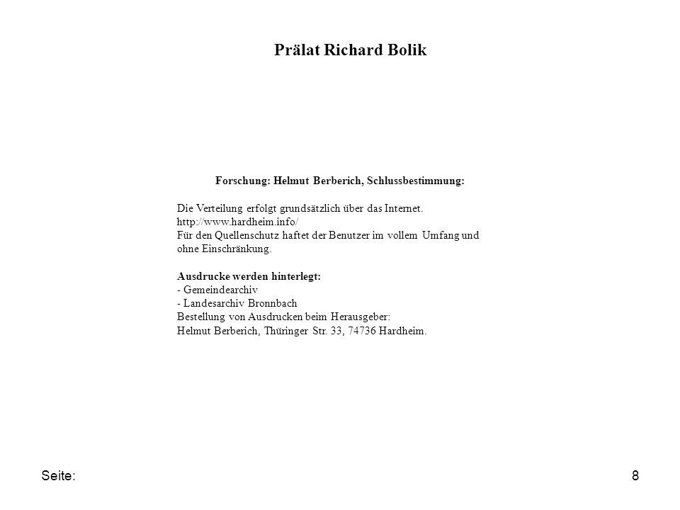 Forschung: Helmut Berberich, Schlussbestimmung: