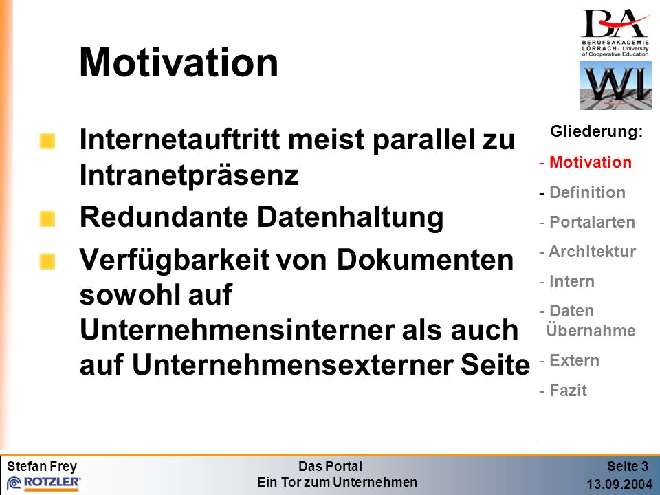 Motivation Internetauftritt meist parallel zu Intranetpräsenz