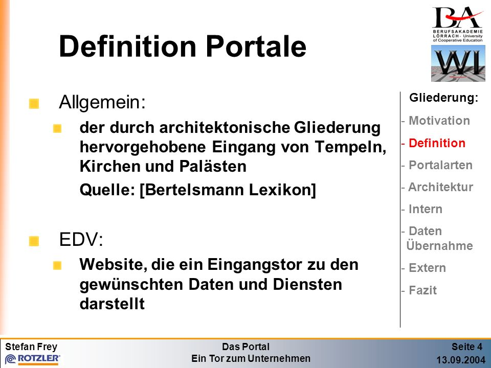 Definition Portale Allgemein: EDV: