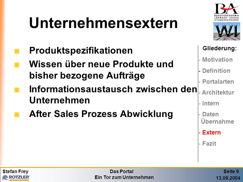 Unternehmensextern Produktspezifikationen