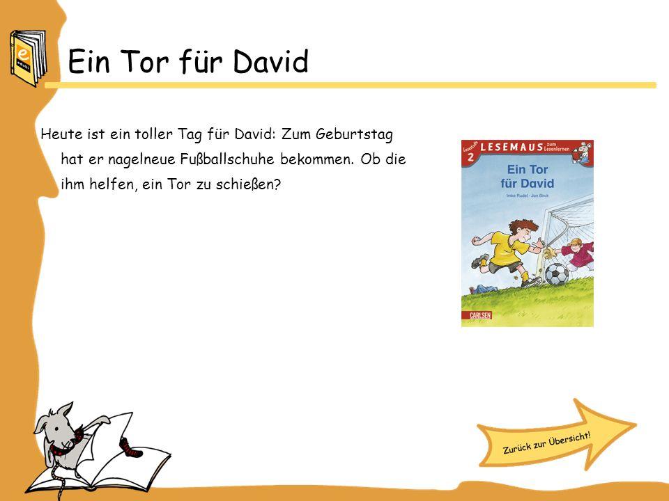 Ein Tor für David Heute ist ein toller Tag für David: Zum Geburtstag hat er nagelneue Fußballschuhe bekommen.
