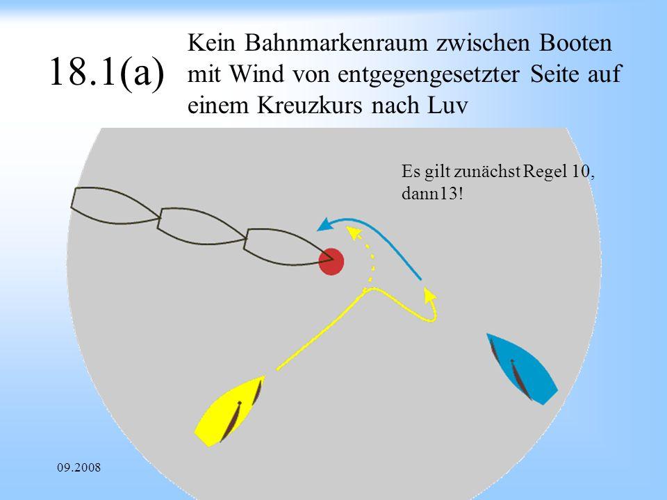 Kein Bahnmarkenraum zwischen Booten mit Wind von entgegengesetzter Seite auf einem Kreuzkurs nach Luv