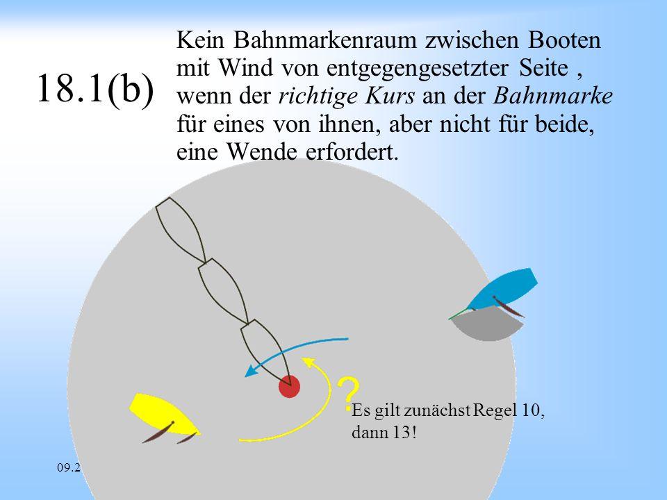 Kein Bahnmarkenraum zwischen Booten mit Wind von entgegengesetzter Seite , wenn der richtige Kurs an der Bahnmarke für eines von ihnen, aber nicht für beide, eine Wende erfordert.