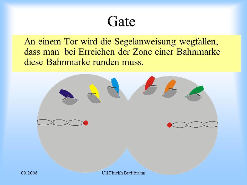 Gate An einem Tor wird die Segelanweisung wegfallen, dass man bei Erreichen der Zone einer Bahnmarke diese Bahnmarke runden muss.