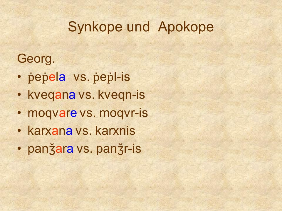 Synkope und Apokope Georg. ṗeṗela vs. ṗeṗl-is kveqana vs. kveqn-is