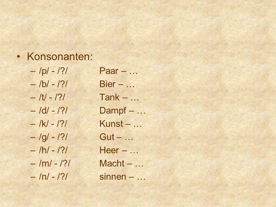 Konsonanten: /p/ - / / Paar – … /b/ - / / Bier – … /t/ - / / Tank – …
