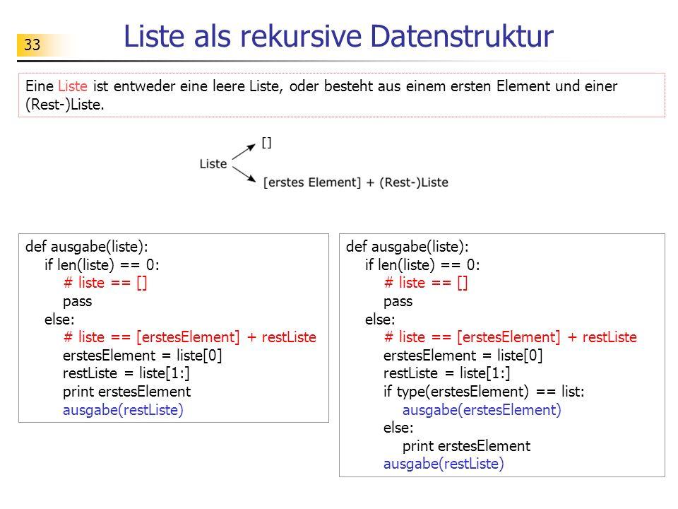 Liste als rekursive Datenstruktur