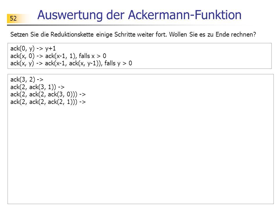 Auswertung der Ackermann-Funktion