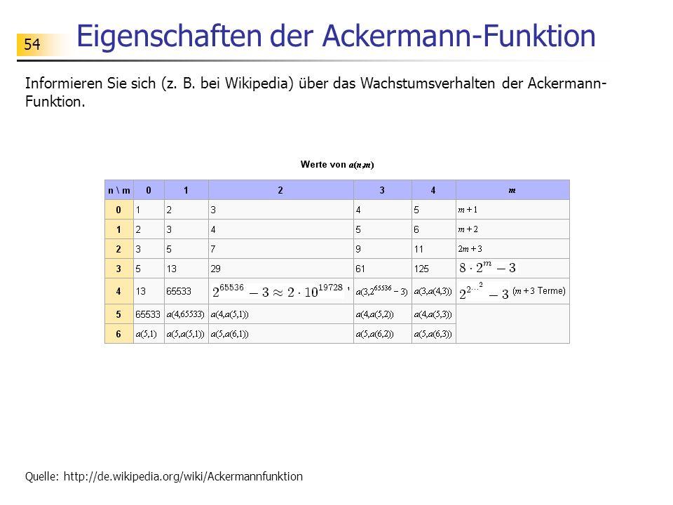 Eigenschaften der Ackermann-Funktion