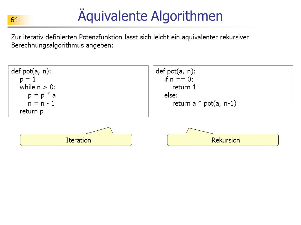 Äquivalente Algorithmen