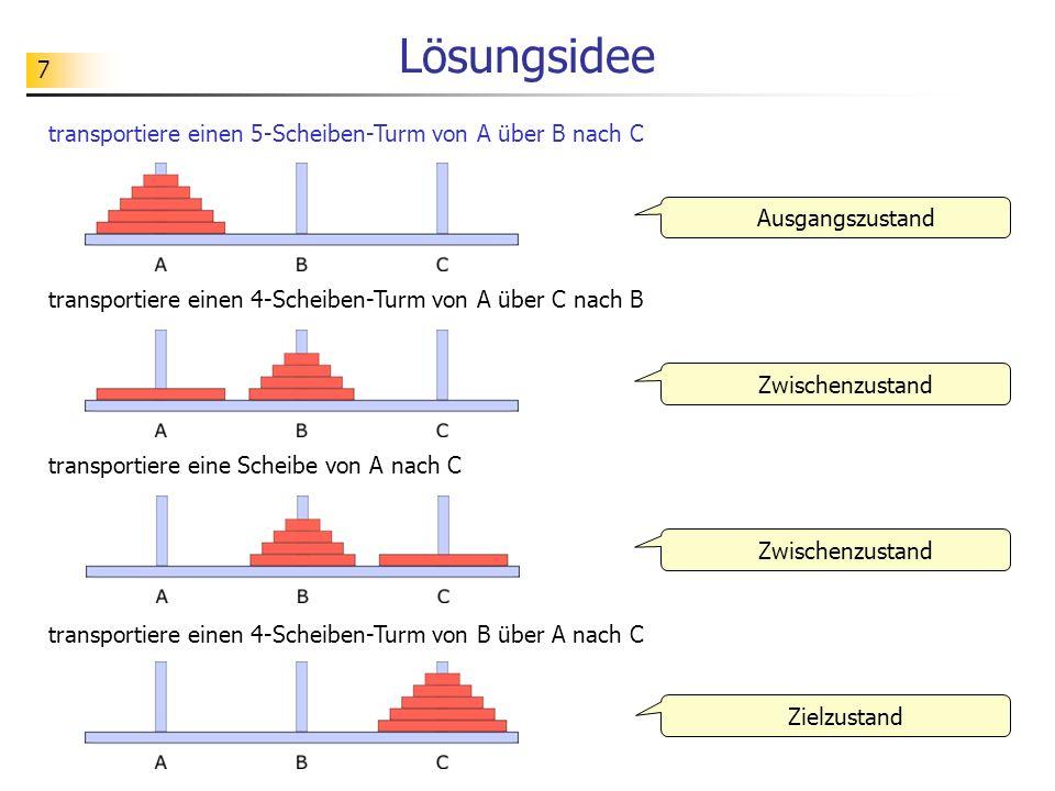 Lösungsidee transportiere einen 5-Scheiben-Turm von A über B nach C