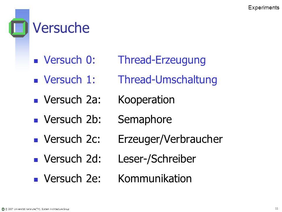 Versuche Versuch 0: Thread-Erzeugung Versuch 1: Thread-Umschaltung