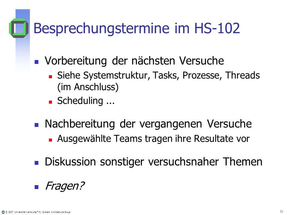 Besprechungstermine im HS-102
