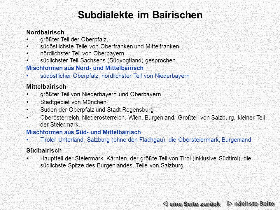 Subdialekte im Bairischen
