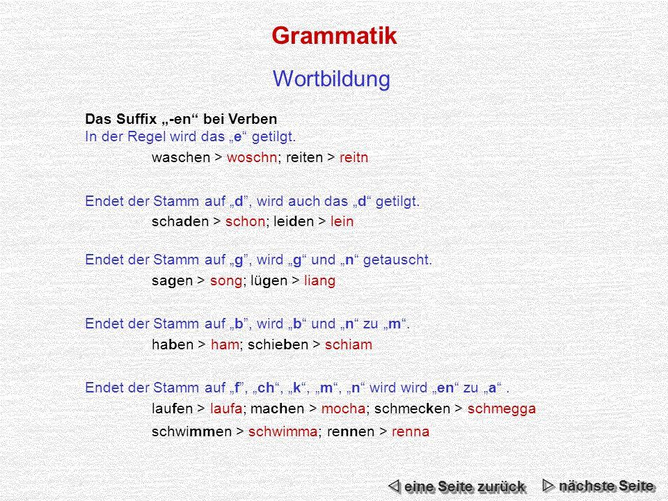 "Grammatik Wortbildung Das Suffix ""-en bei Verben"
