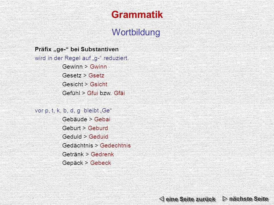 """Grammatik Wortbildung Präfix """"ge- bei Substantiven"""