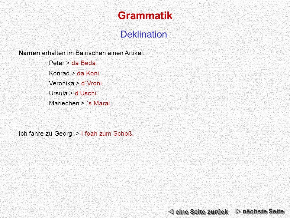 Grammatik Deklination Namen erhalten im Bairischen einen Artikel: