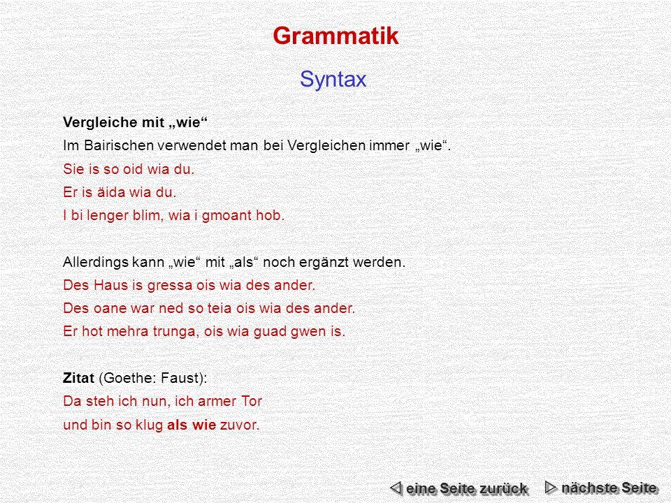 """Grammatik Syntax Vergleiche mit """"wie"""
