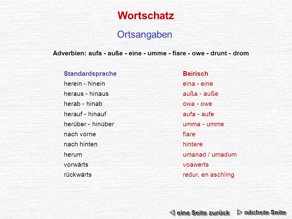 Adverbien: aufa - auße - eine - umme - fiare - owe - drunt - drom