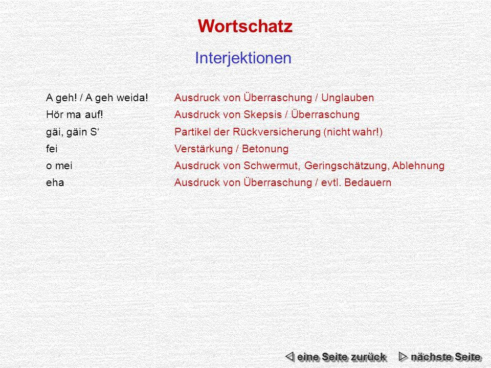 Wortschatz Interjektionen