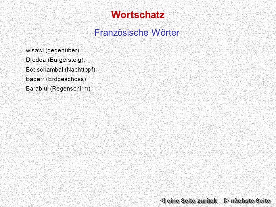 Wortschatz Französische Wörter wisawi (gegenüber),