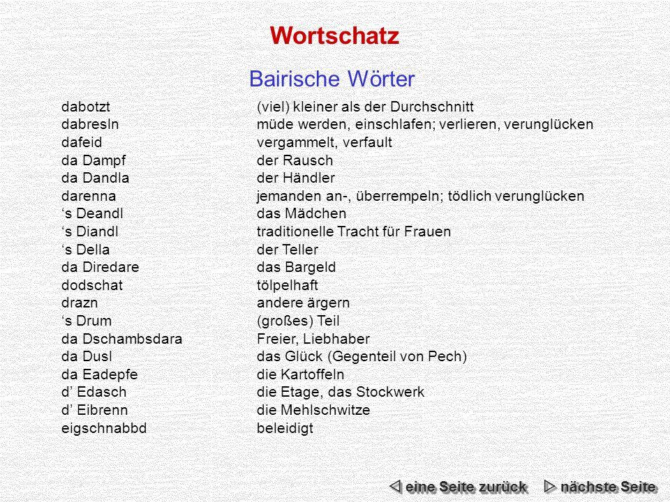Wortschatz Bairische Wörter