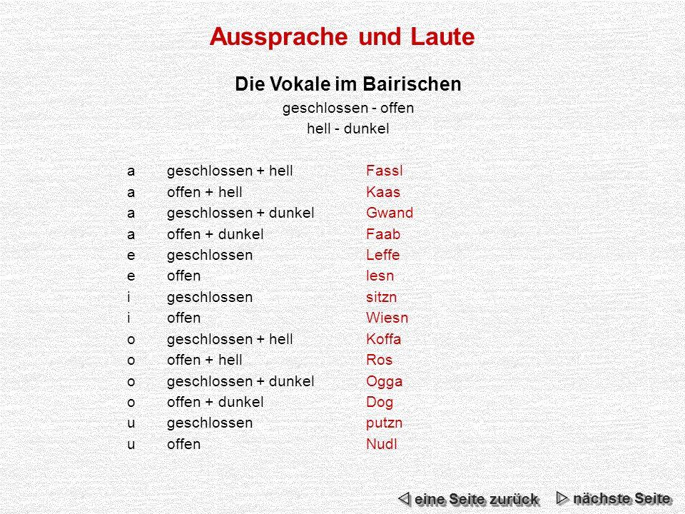 Die Vokale im Bairischen