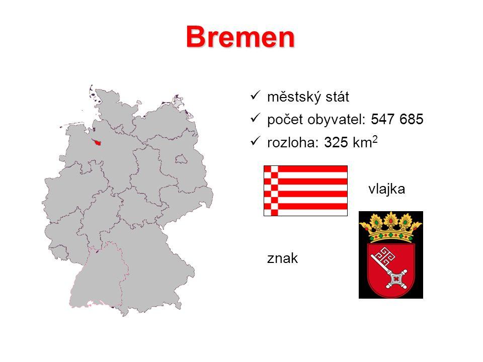 Bremen městský stát počet obyvatel: 547 685 rozloha: 325 km2 vlajka