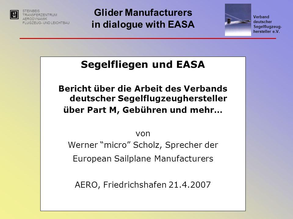 Bericht über die Arbeit des Verbands deutscher Segelflugzeughersteller
