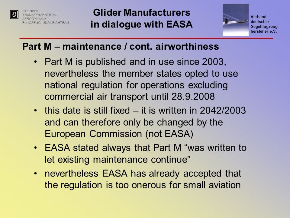 Part M – maintenance / cont. airworthiness