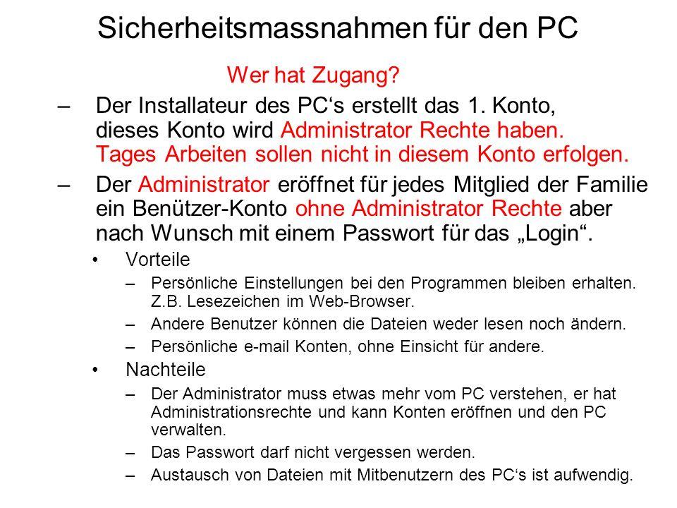 Sicherheitsmassnahmen für den PC