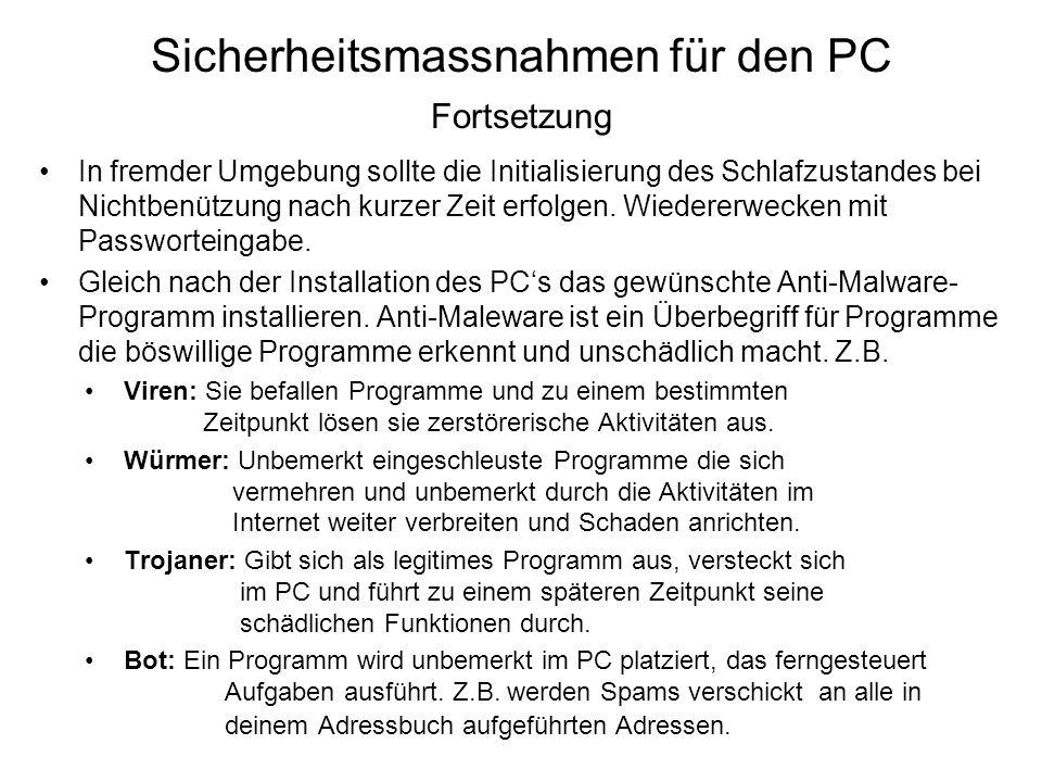 Sicherheitsmassnahmen für den PC Fortsetzung
