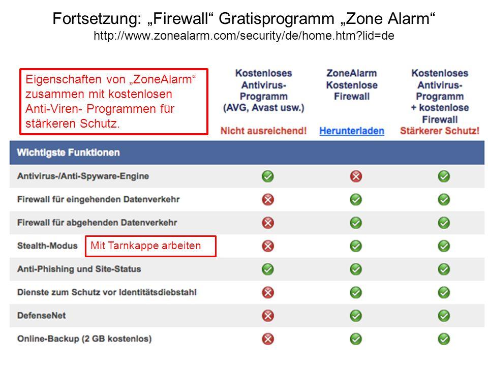 """Fortsetzung: """"Firewall Gratisprogramm """"Zone Alarm http://www"""
