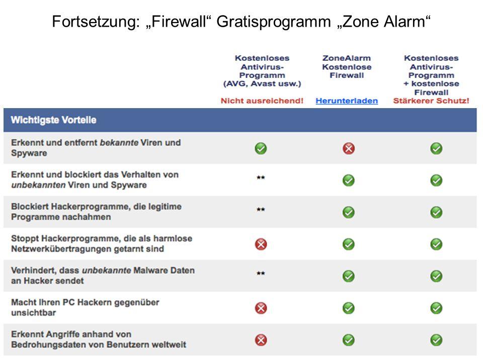 """Fortsetzung: """"Firewall Gratisprogramm """"Zone Alarm"""