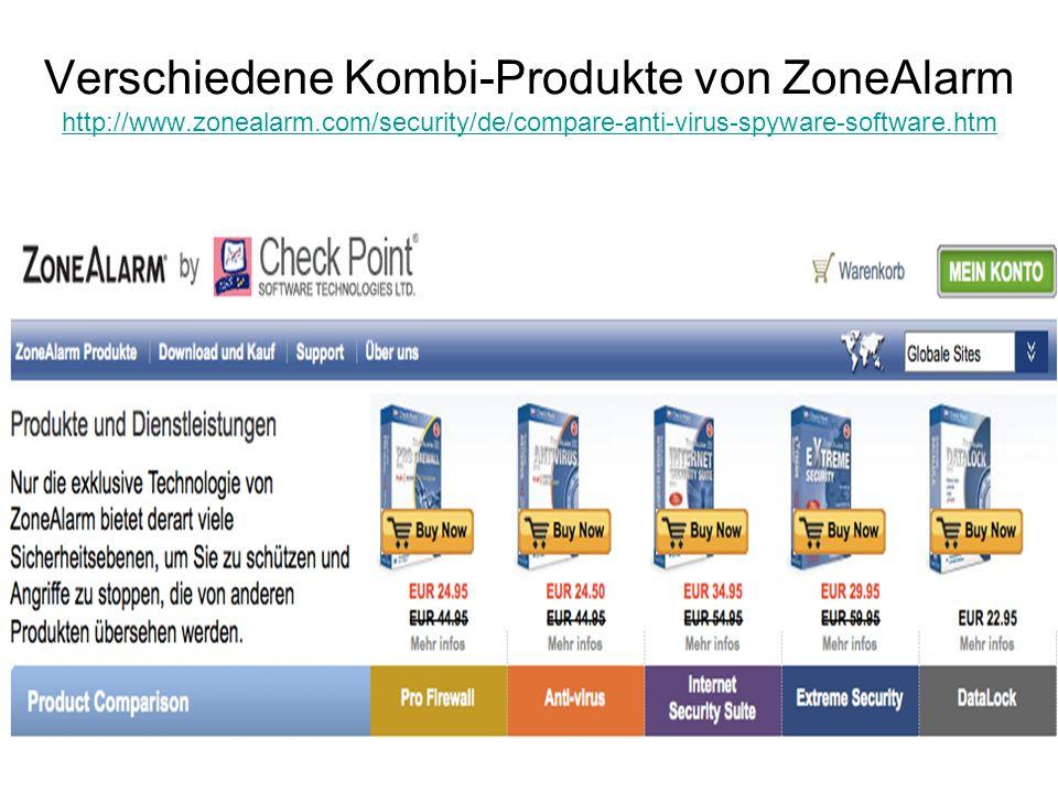 Verschiedene Kombi-Produkte von ZoneAlarm http://www. zonealarm