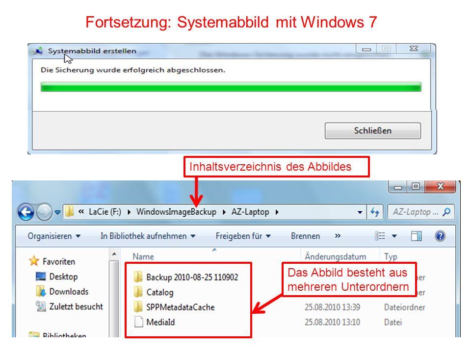 Fortsetzung: Systemabbild mit Windows 7